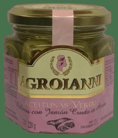 Aceitunas verdes rellenas con JAMON CRUDO EN ACEITE